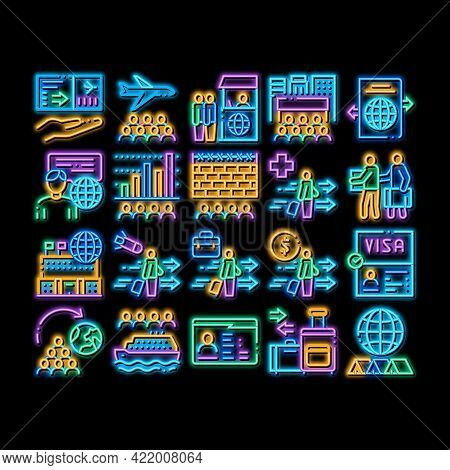 Immigration Refugee Neon Light Sign Vector. Glowing Bright Icon Immigration Person With Baggage, Pas