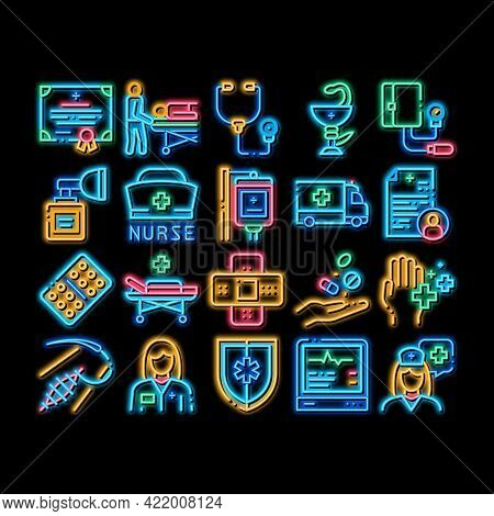 Nurse Medical Aid Neon Light Sign Vector. Glowing Bright Icon Nurse Hat And Stethoscope, Pulse Cardi