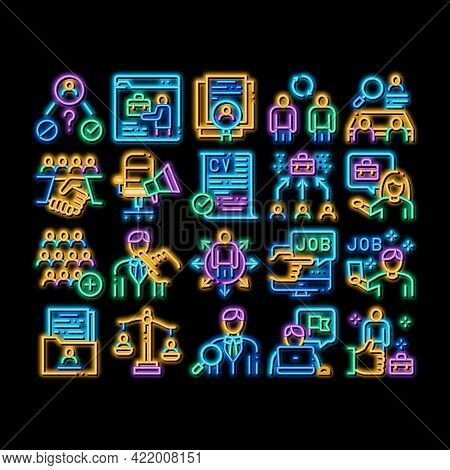 Recruitment And Research Employee Neon Light Sign Vector. Glowing Bright Icon Curriculum Vitae Cv An