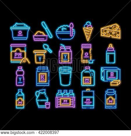 Dairy Drink And Food Neon Light Sign Vector. Glowing Bright Icon Dairy Cheese And Ice Cream, Fresh M