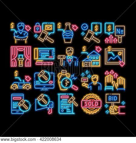 Auction Buying And Selling Goods Neon Light Sign Vector. Glowing Bright Icon Internet Auction And Ap