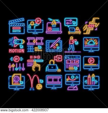Motion Design Studio Neon Light Sign Vector. Glowing Bright Icon Movie Motion Redactor Programme On