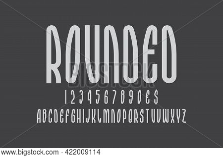 Rounded Artistic Display Font. Gray Minimal Letters, Numbers And Currency Signs. Isolated English Al