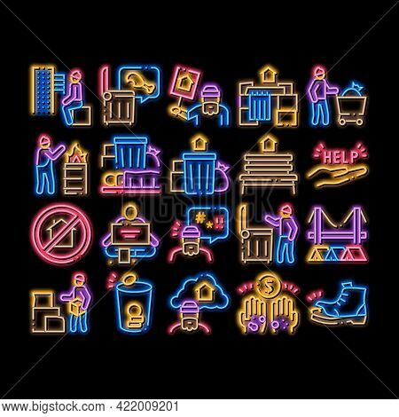 Homeless Beggar People Neon Light Sign Vector. Glowing Bright Icon Homelessness And Shoe, Living On