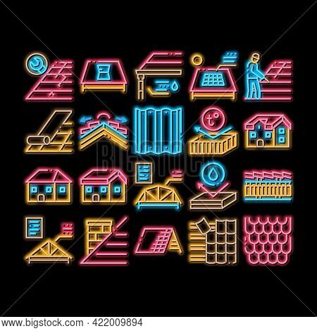 Roof Housetop Material Neon Light Sign Vector. Glowing Bright Icon House Roof Waterproof And Tempera