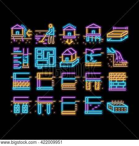 House Foundation Base Neon Light Sign Vector. Glowing Bright Icon Concrete And Brick Building Founda