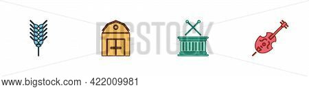Set Wheat, Farm House, Musical Drum And Sticks And Violin Icon. Vector