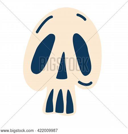 Cartoon Skull. Vector Human Skull. Design For Halloween.  For Tattoo, Textile, Print For T-shirts An