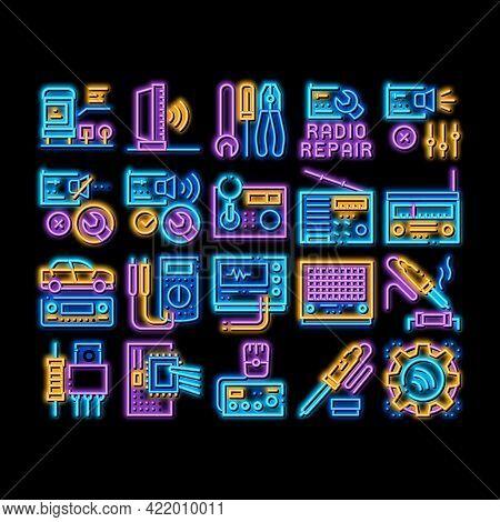 Radio Repair Service Neon Light Sign Vector. Glowing Bright Icon Radio Repair Electronic And Mechani