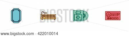 Set Poker Table, Video Game Console, Cd Or Dvd Disk In Box And Create Account Screen Icon. Vector
