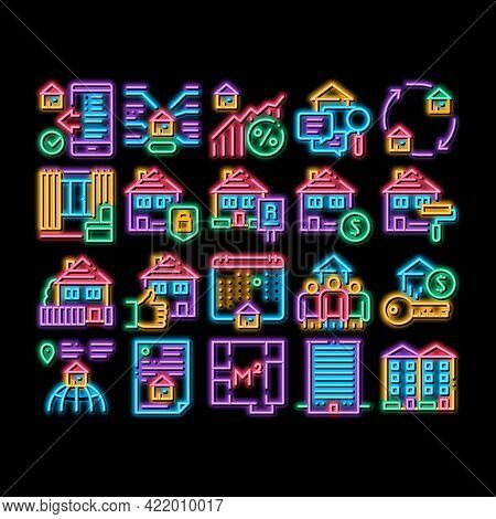 Apartment Building Neon Light Sign Vector. Glowing Bright Icon Apartment Floor Plan Architectural Pr