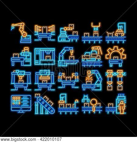Manufacturing Process Neon Light Sign Vector. Glowing Bright Icon Manufacturing Conveyor Car And Pro