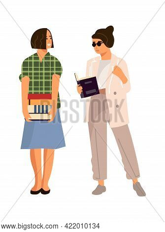 Reading People. Cartoon Students With Books. Women Carry Stacks Of Textbooks. Isolated Female Charac