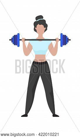 Woman Exercising. Cartoon Female Lifting Barbell. Character Training With Sport Equipment. Sportsman