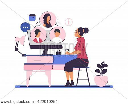 Online Meeting And Self-education. Video Conference And Remote Studying. Woman Communicates With Peo