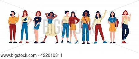 Diverse Women. Cartoon Group Of Happy Female Characters Standing Together In Different Poses. Girls