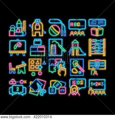 Preschool Education Neon Light Sign Vector. Glowing Bright Icon Preschool Educational Game And Lesso