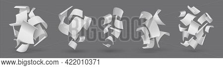 Falling Paper. Realistic Flying Pages. Blown Away 3d White Sheets. Clear Paperwork Letters. Group Of