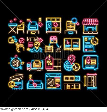 Furniture Shop Market Neon Light Sign Vector. Glowing Bright Icon Furniture Table And Chair For Cafe