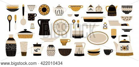 Dishes. Kitchen Ceramic Crockery. Cartoon Porcelain Plates And Cups. Decorative Dinnerware. Teapots