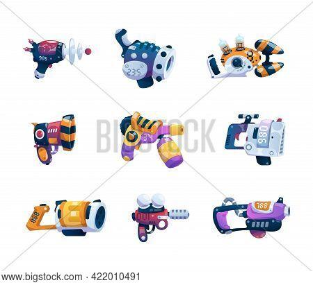 Cartoon Guns. Alien Game Weapon. Futuristic Lasers And Blasters Set. Astronaut Combat Ray Handguns.