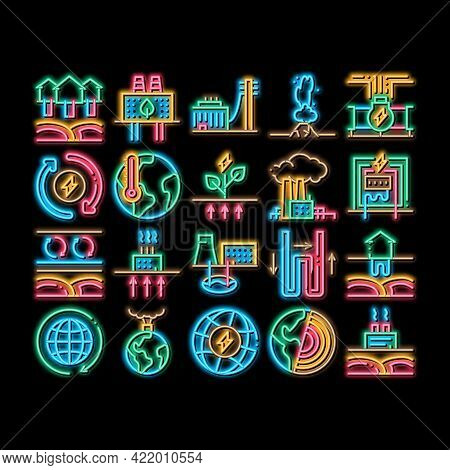 Geothermal Energy Neon Light Sign Vector. Glowing Bright Icon Geothermal Electricity Factory And Hou