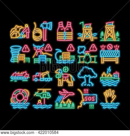 Rescuer Equipment Neon Light Sign Vector. Glowing Bright Icon Rescue Dog And Truck, Helicopter And L