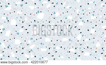Terrazzo Background. Abstract Marble Rock Wallpaper With Granite Stone Pieces. Mosaic Concrete Decor