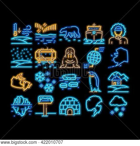Arctic And Antarctic Neon Light Sign Vector. Glowing Bright Icon Arctic Snow And Ice, Iceberg And Be