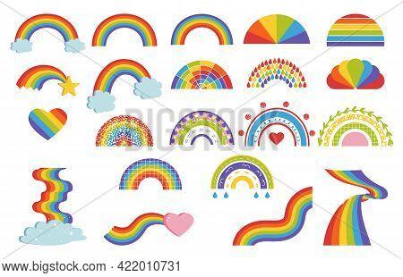 Cartoon Rainbow. Child Graphic Multicolor Symbol. Doodle Arcs In Sky And Curve Bands Set. Color Spec