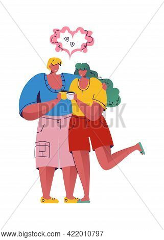 Loving Couple Is Drinking Coffee. Man And Woman Holding Cups With Beverage. Amour Sign Under Heads.