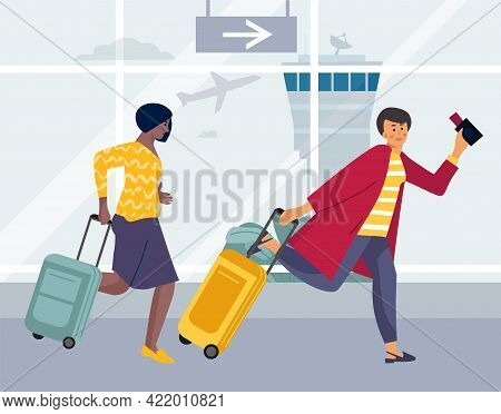 Late Tourists. Women Running For Plane Landing. Persons Rushing To Take Seats On Aircraft. Female Ch