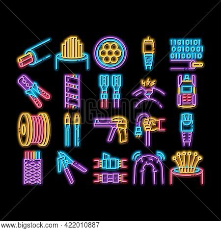 Optical Fiber Cable Neon Light Sign Vector. Glowing Bright Icon Fiber Repair Instrument And Electric