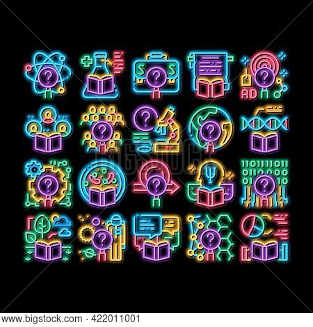 Researcher Business Neon Light Sign Vector. Glowing Bright Icon Chemical Laboratory And Biology Rese