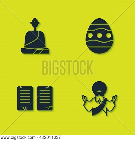 Set Buddhist Monk, Jesus Christ, The Commandments And Easter Egg Icon. Vector