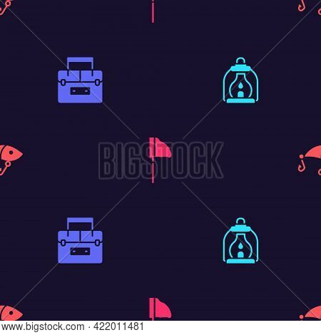 Set Camping Lantern, Case Container For Wobbler, Fishing Net With Fish And Lure On Seamless Pattern.