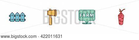 Set Garden Fence Wooden, Wooden Axe, Location Farm And Carrot Icon. Vector