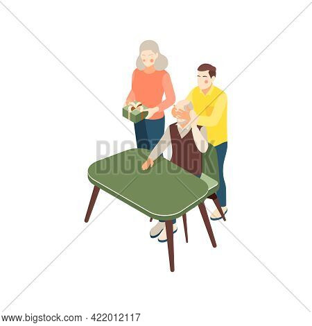 Isometric Icon With Family Giving Grandpa Surprise 3d Vector Illustration