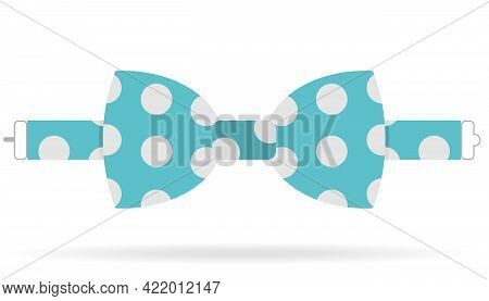Bow Tie, Blue Bow Tie With White Polka Dots. Vector, Cartoon Illustration. Vector.