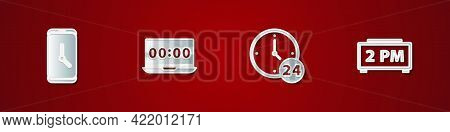 Set Alarm Clock App Mobile, Clock On Laptop, 24 Hours And Digital Alarm Icon. Vector