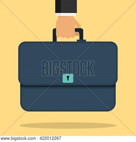 Briefcase, Business Briefcase In A Man's Hand. Vector, Cartoon Illustration. Vector.