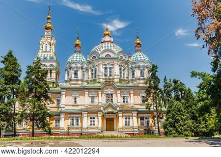 Almaty, Kazakhstan - Circa June 2017: The Ascension Cathedral Also Known As Zenkov Cathedral A Russi