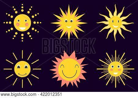 Sun, Solar Icons Set. Vector, Cartoon Illustration. Vector.