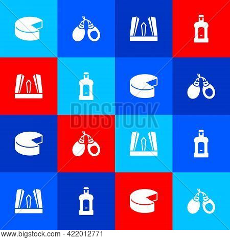 Set Cheese, Castanets, Gate Of Europe And Orujo Icon. Vector