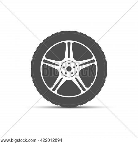 Wheel Icon. The Tire Is On A Light-alloy Disc. Vector Illustration, Flat Style.