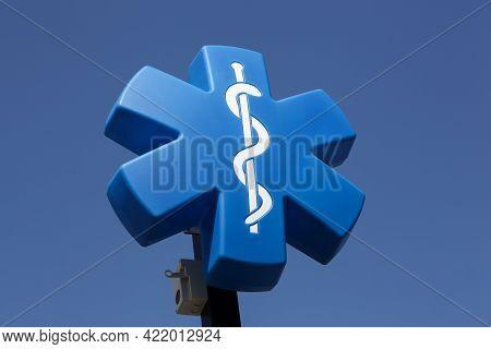 Arnas, France - September 13, 2020: Star Of Life Medical Symbol On A Pole