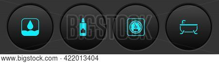 Set Water Drop, Spray Can For Hairspray, Sauna Thermometer And Bathtub Icon. Vector