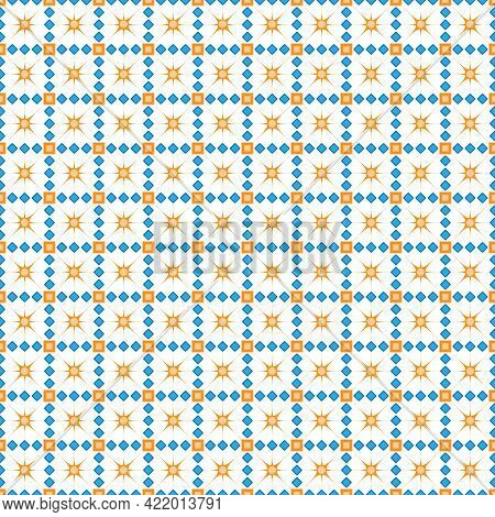 Seamless Pattern With Squares, Diamonds, And Twinkling Stars For Texture, Textiles, Packaging, And S