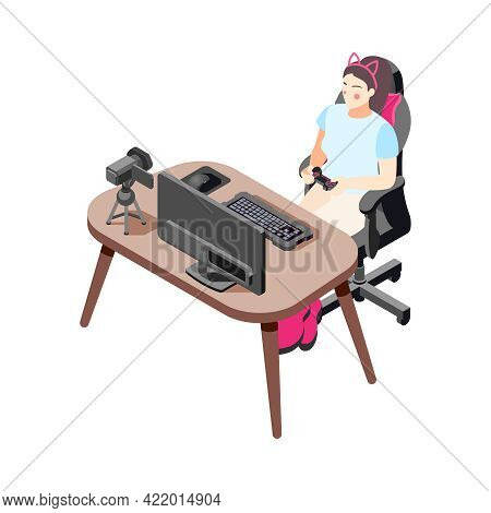 Isometric Icon With Female Gamer Vlogger Making Video And Playing Computer Game 3d Vector Illustrati