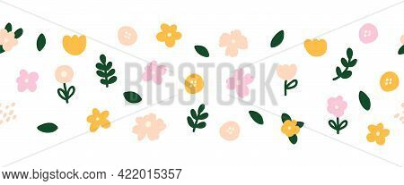 Horizontal White Banner Or Floral Backdrop Decorated With Multicolored Blooming Flowers And Leaves S